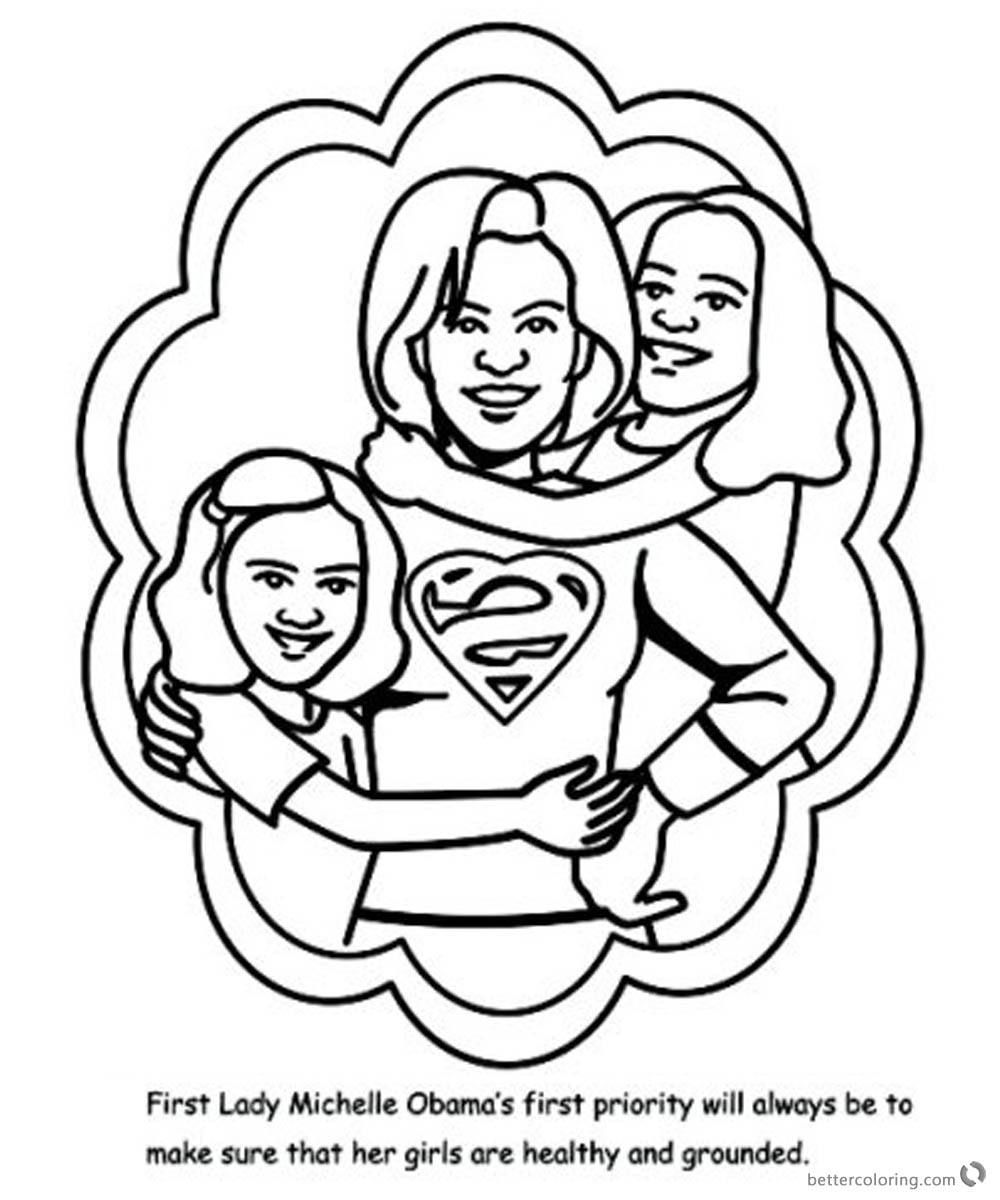 Michelle Obama Coloring Page First Lady with her girls printable