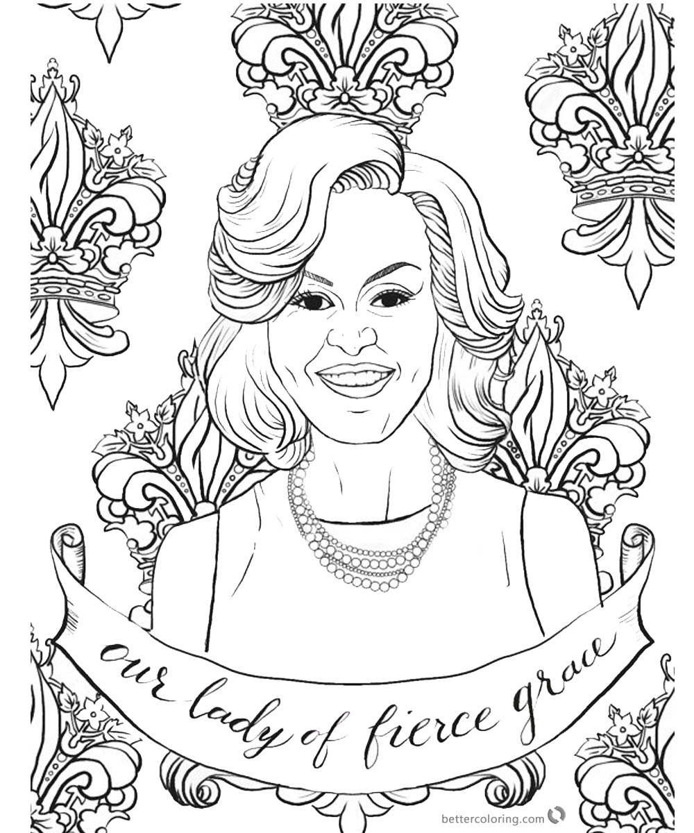 Michelle Obama Coloring Page Graceful Lady Free Printable Coloring