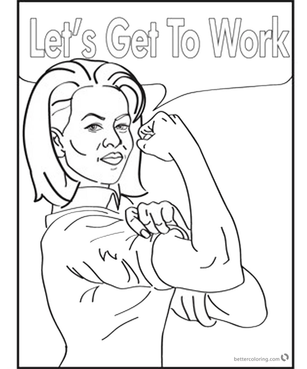 Michelle Obama Coloring Page Lets get to work printable