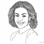Michelle Obama Coloring Page Lineart