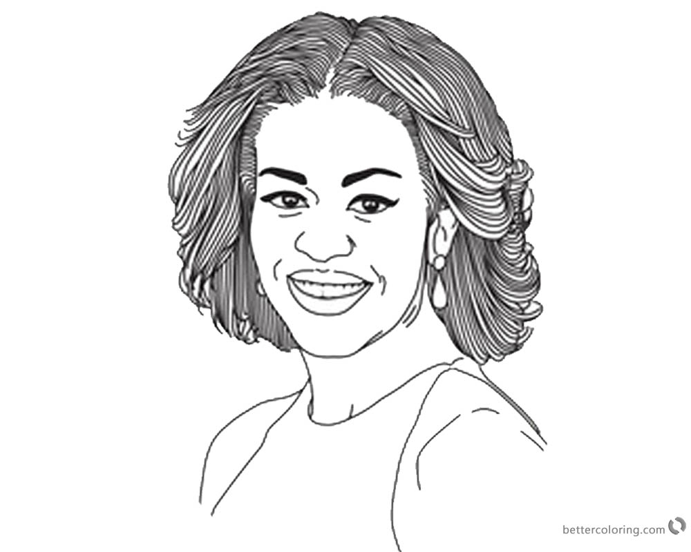 Michelle Obama Coloring Page Lineart printable