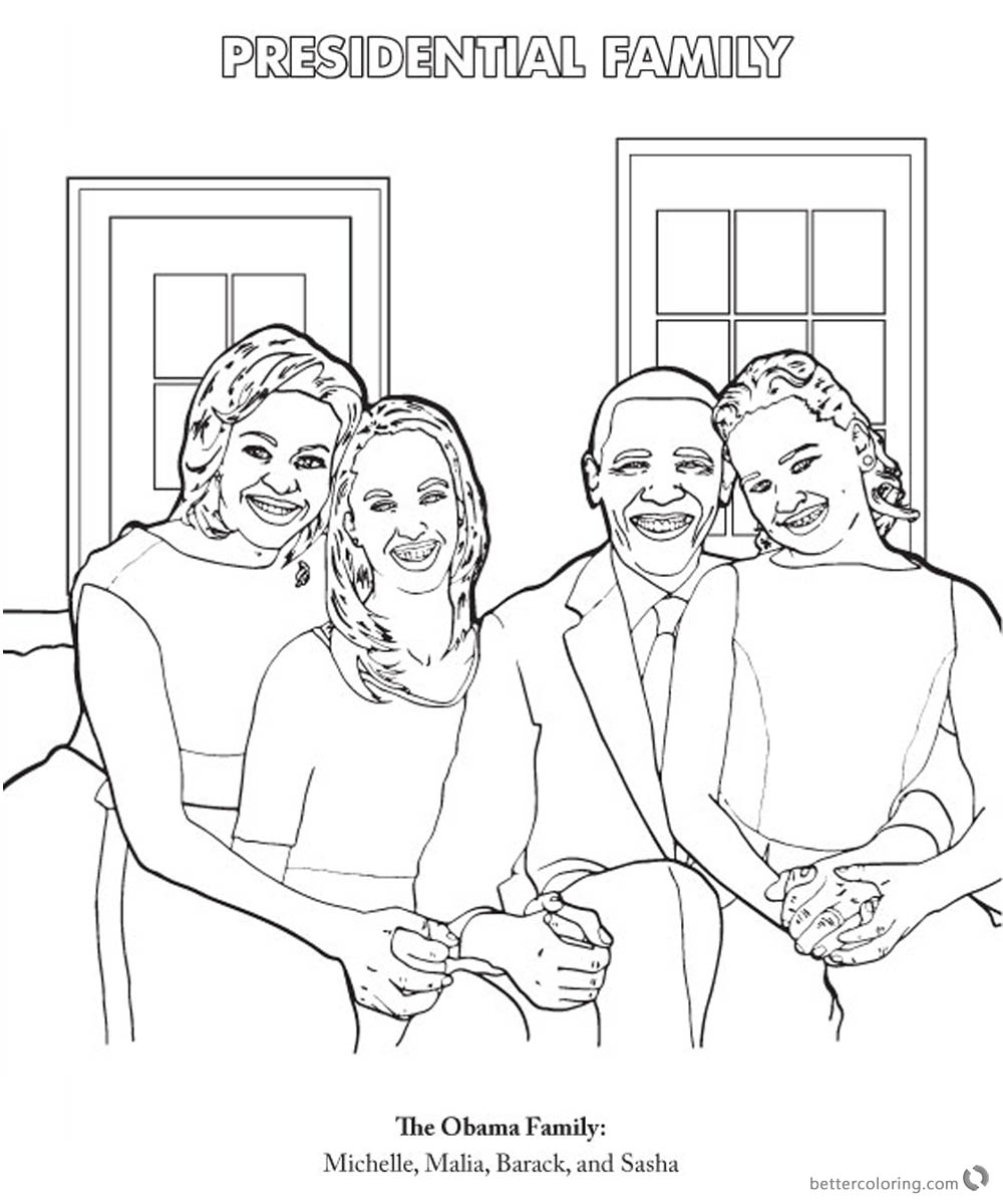 Michelle Obama Coloring Page Presidential Family printable