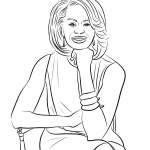 Michelle Obama Coloring Page Sitting On a Chair
