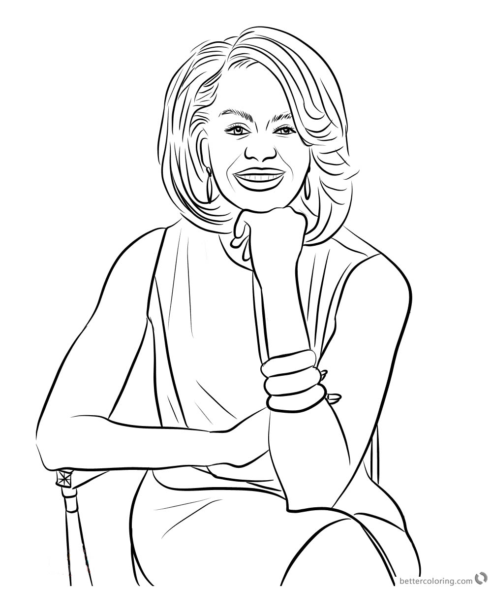 Michelle Obama Coloring Page Sitting On a Chair Free Printable