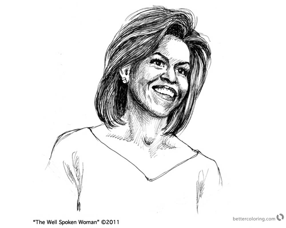 Michelle Obama Coloring Page The Well Spoken Woman printable