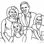 Michelle Obama Coloring Page with Her Family