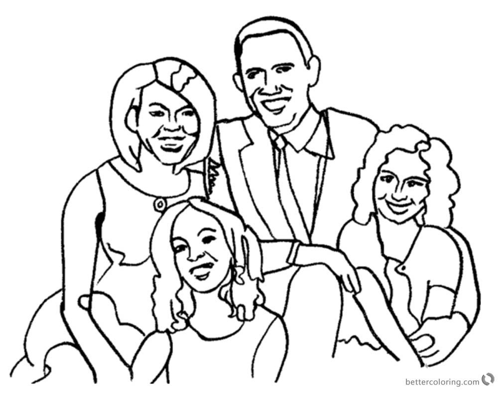 Michelle Obama Coloring Page with Her Family Free Printable