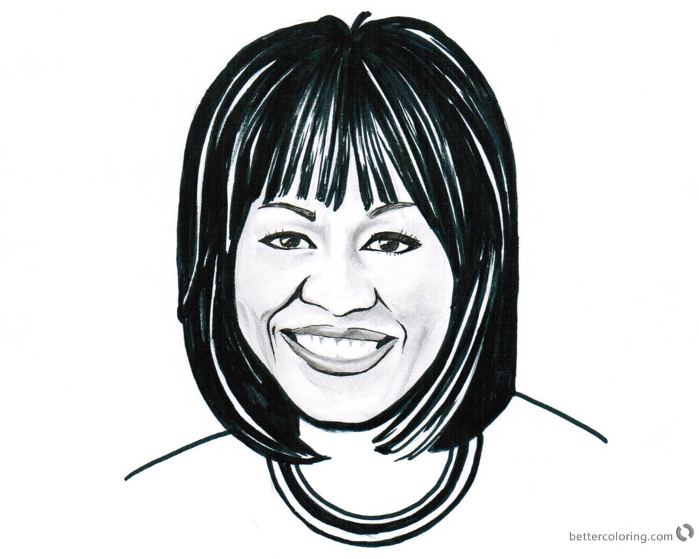 Michelle Obama Coloring Pages Black and White printable