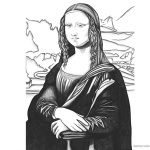 Mona Lisa Coloring Pages Black and White Art