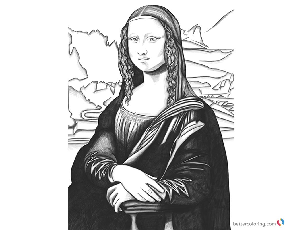 Mona Lisa Coloring Pages Black and White Art - Free Printable ...