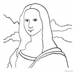 Mona Lisa Coloring Pages Clipart Black and White