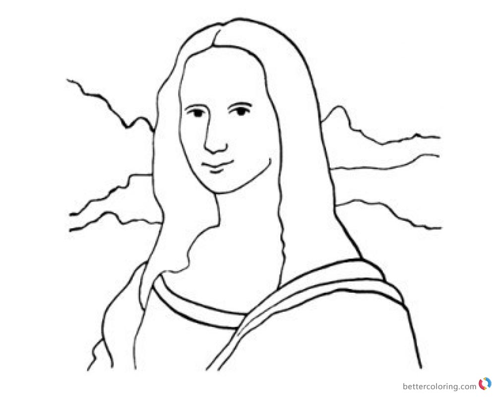 Mona Lisa Coloring Pages Clipart Black and White printable and free