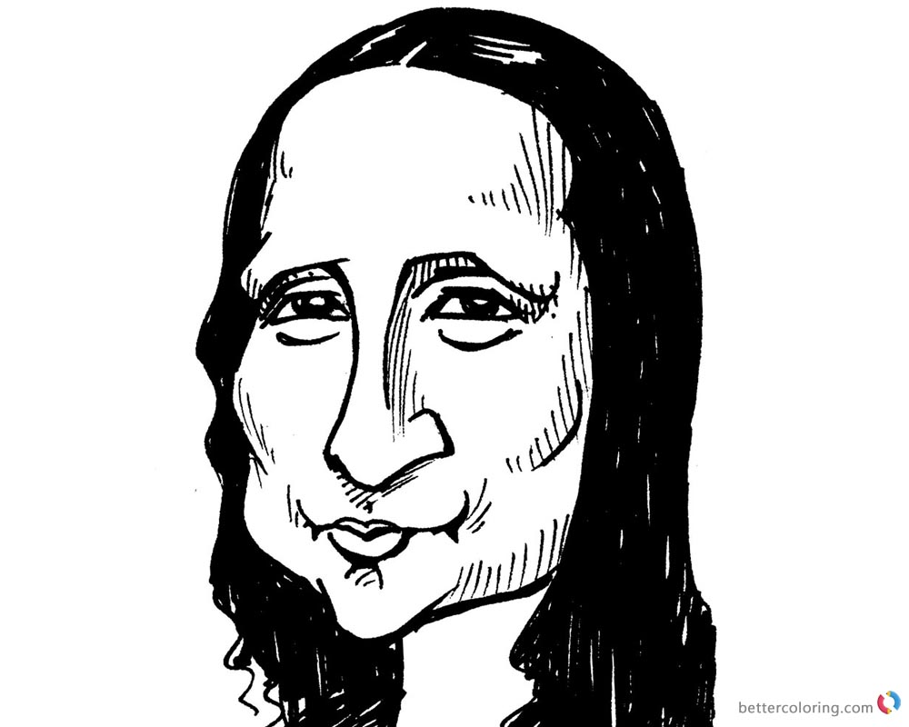 Mona Lisa Coloring Pages Clipart Drawing printable and free