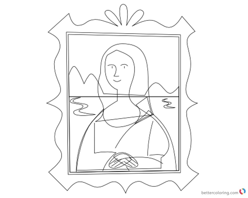 Mona lisa coloring pages clipart picture free printable for Mona lisa coloring pages