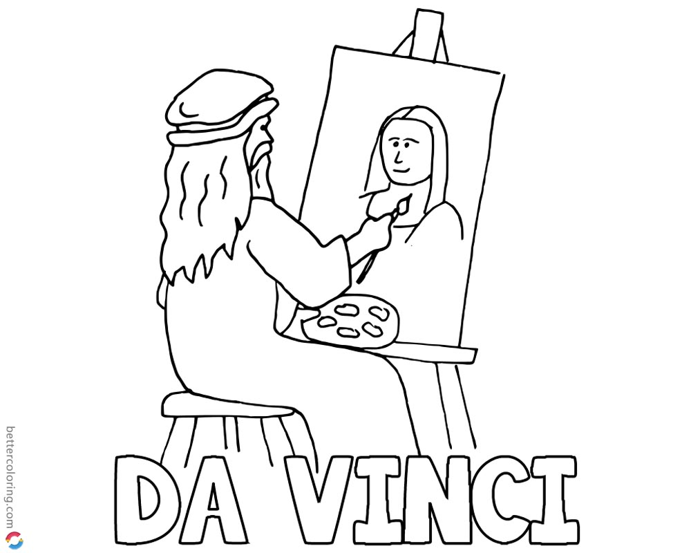Mona Lisa Coloring Pages Da Vinci Drawing printable and free