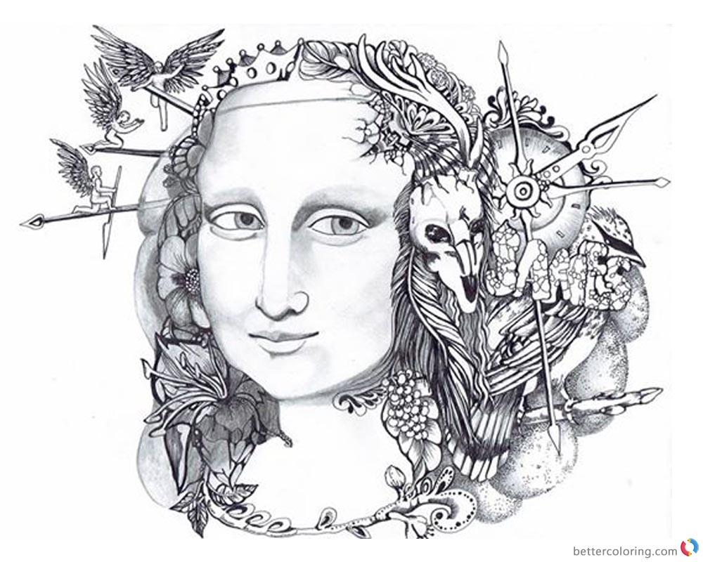 Mona Lisa Coloring Pages Doodle Art - Free Printable Coloring Pages