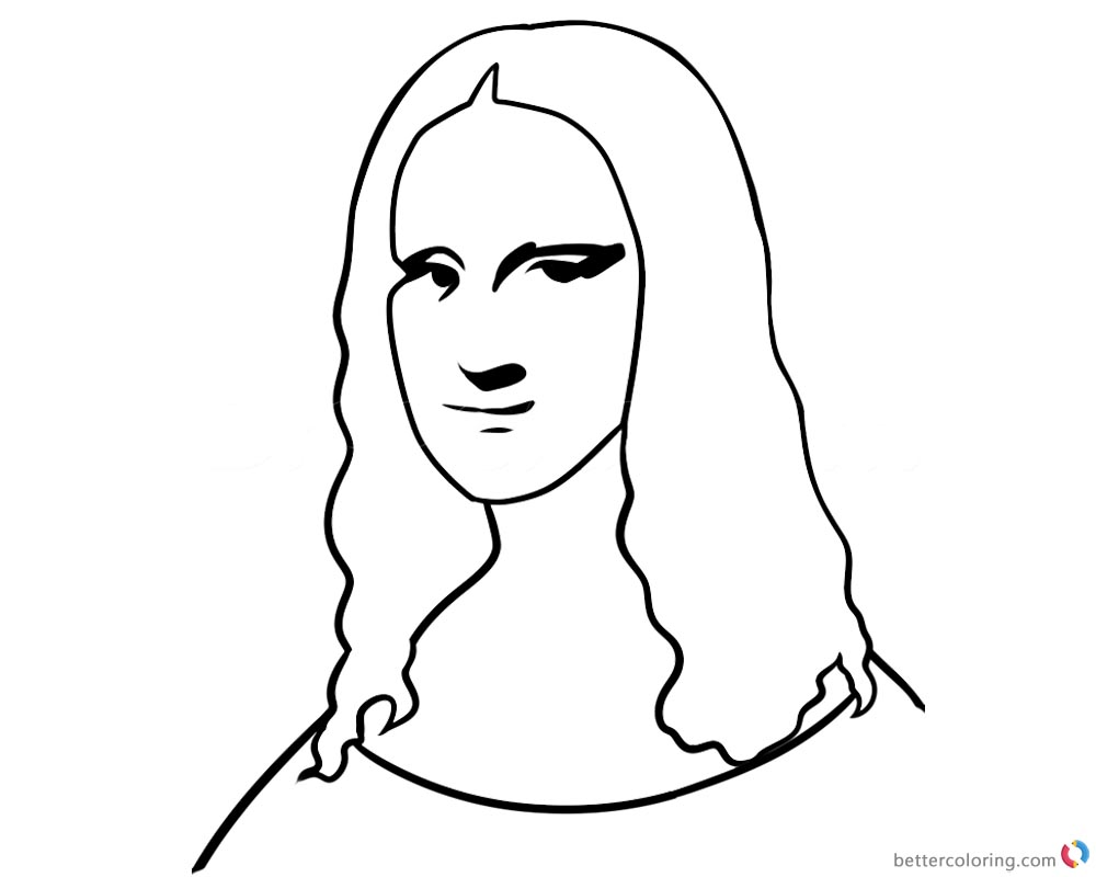 Mona lisa coloring pages easy how to draw free printable for Mona lisa coloring pages