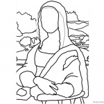 Mona Lisa Coloring Pages Elegant Stick Postcard