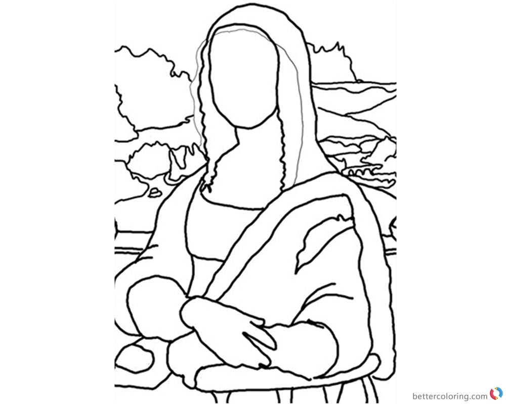 Mona Lisa Coloring Pages Elegant Stick Postcard printable and free