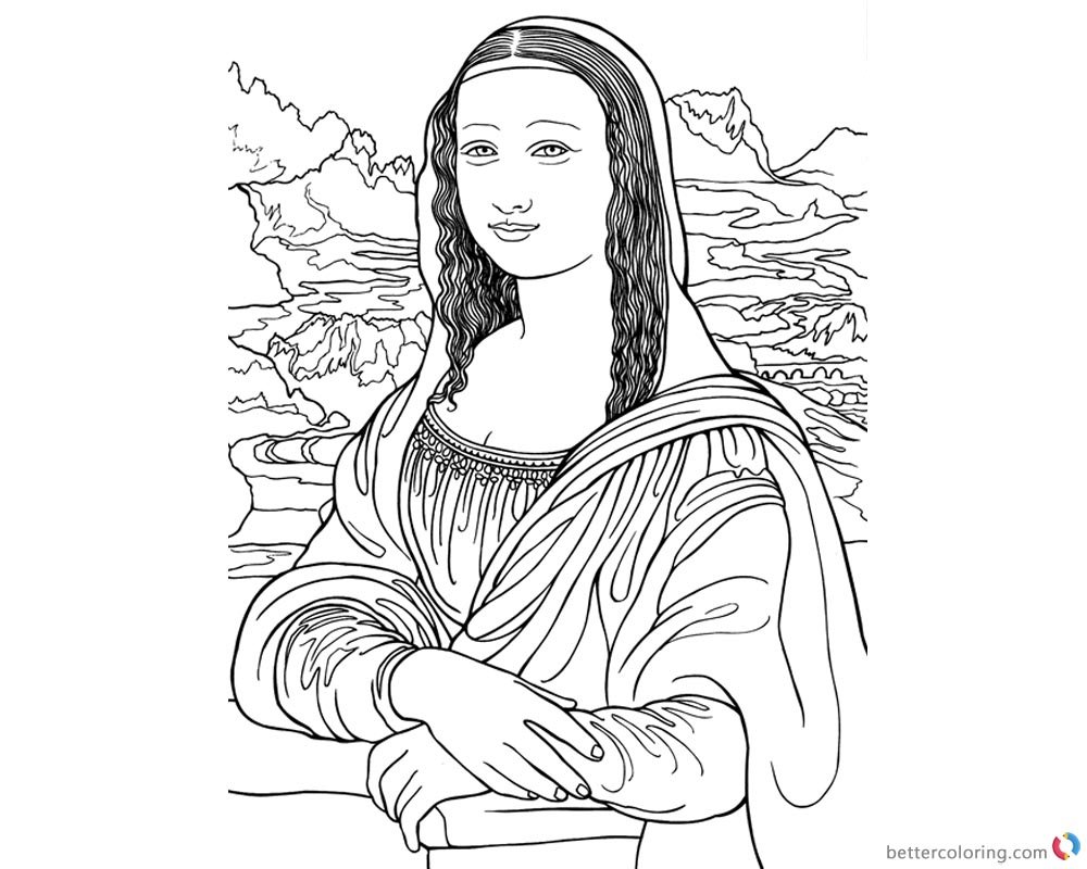 Mona Lisa Coloring Pages Fantastic Clipart printable and free