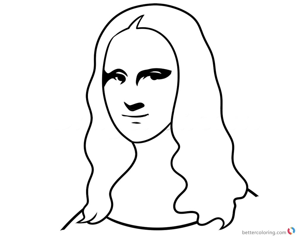 Mona lisa coloring pages how to draw simple free for Mona lisa coloring pages
