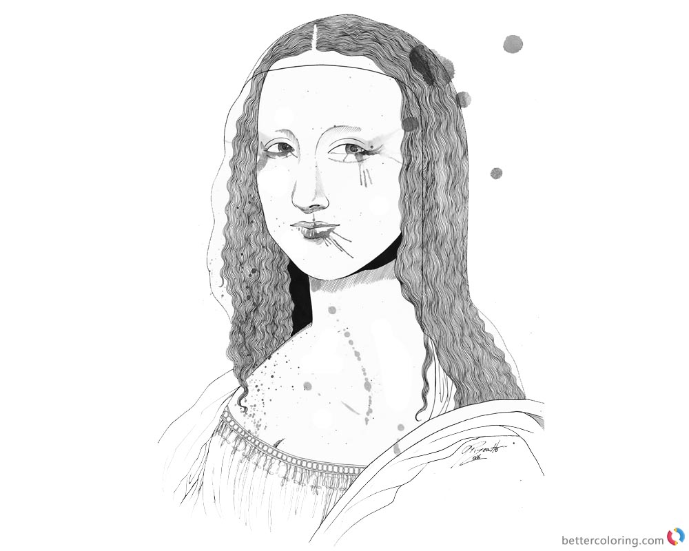 Mona Lisa Coloring Pages Ilustracao GiselaPizzatto printable and free