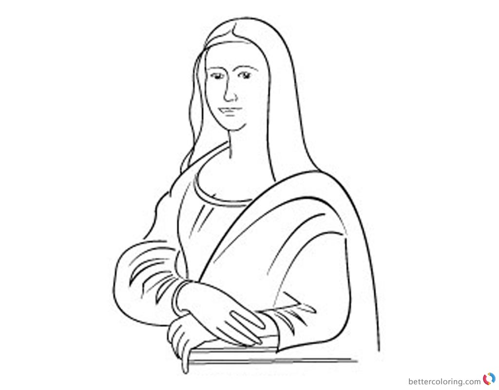 Line Art Free : Mona lisa coloring pages line art clipart free printable