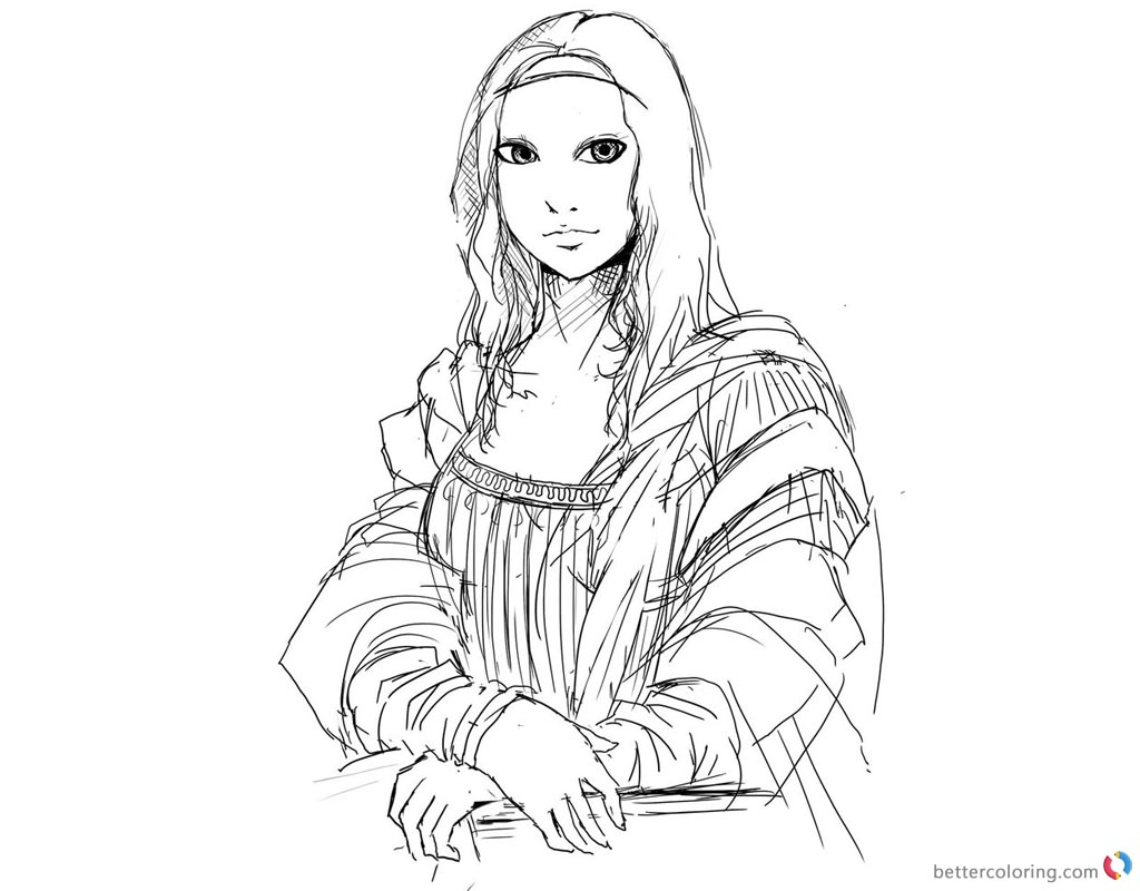 Mona Lisa Coloring Pages Line Drawing - Free Printable Coloring Pages