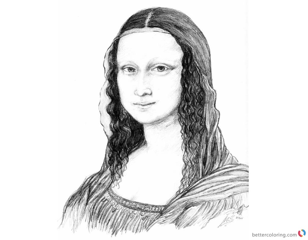 Mona Lisa Coloring Pages Lovely Mona Lisa Sketch printable and free