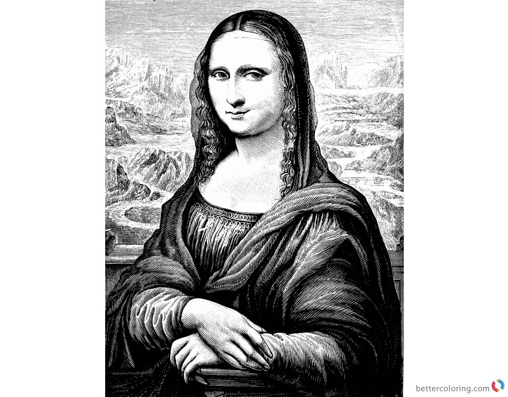 Mona Lisa Coloring Pages Pencil Clipart Free Printable