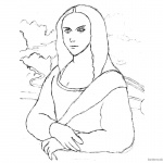 Mona Lisa Coloring Pages Practice Sketch