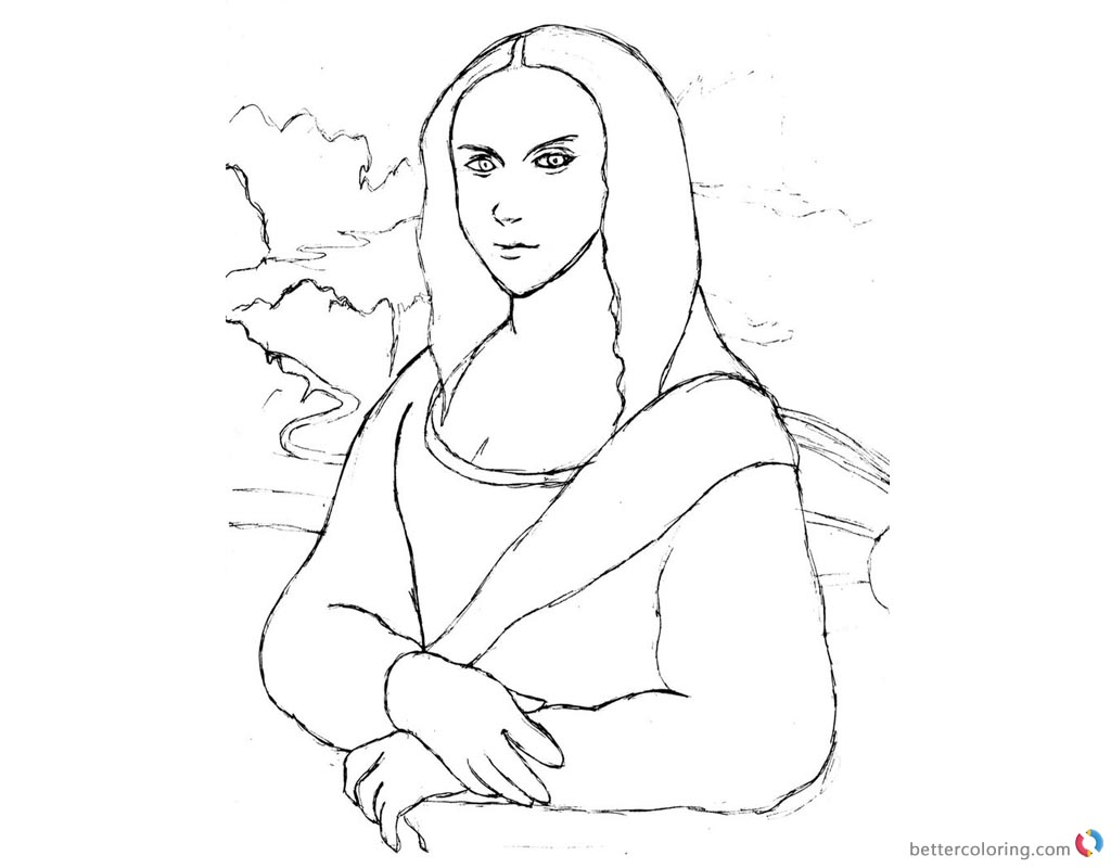 Mona Lisa Coloring Pages Practice Sketch printable and free