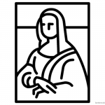 Mona Lisa Coloring Pages Simple Lineart Mona Lisa