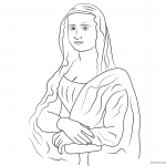 Mona Lisa Coloring Pages Simple Line Art