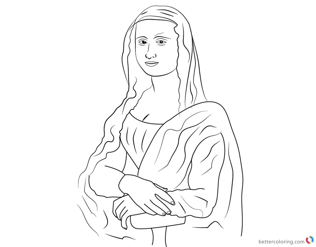 Mona Lisa Coloring Pages Simple Line Artprintable and free