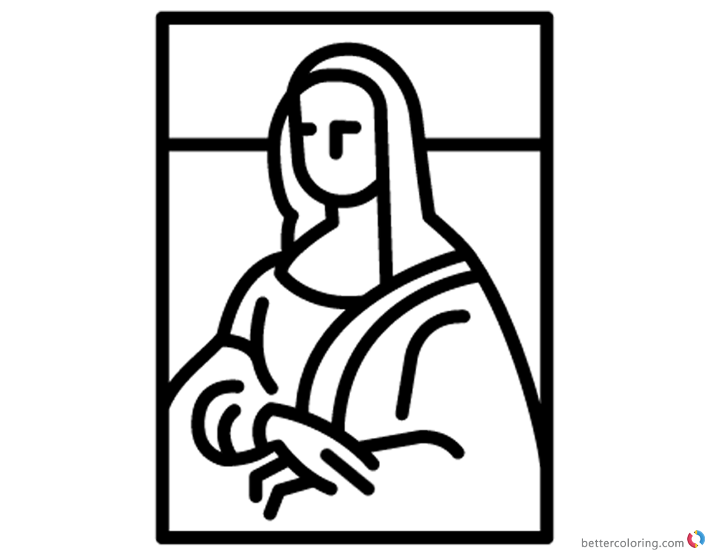 download this coloring page - Mona Lisa Coloring Page