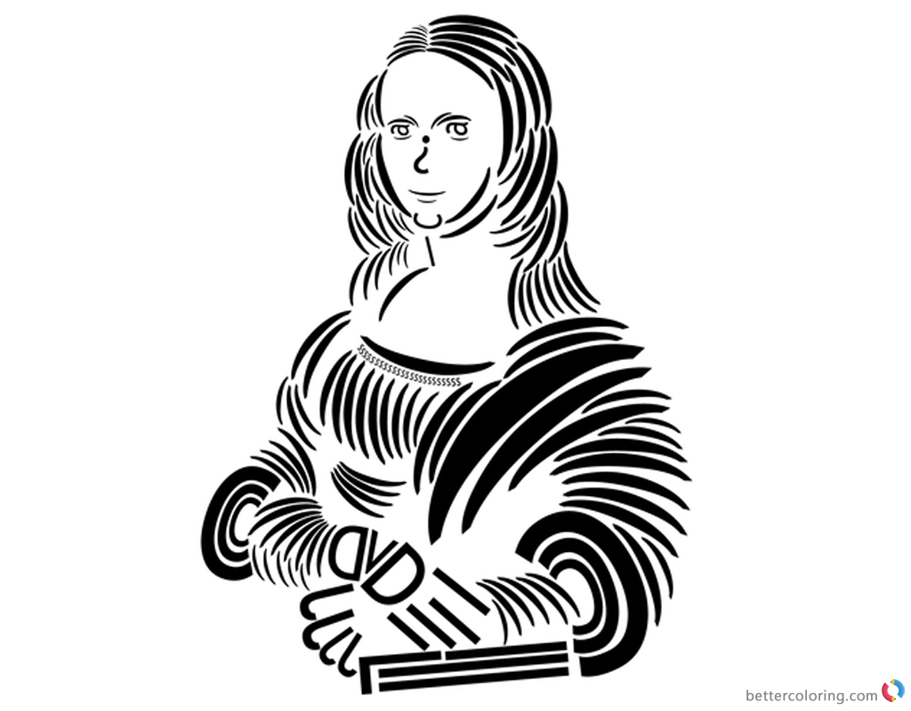 Mona Lisa Coloring Pages Trebuchet typography printable and free