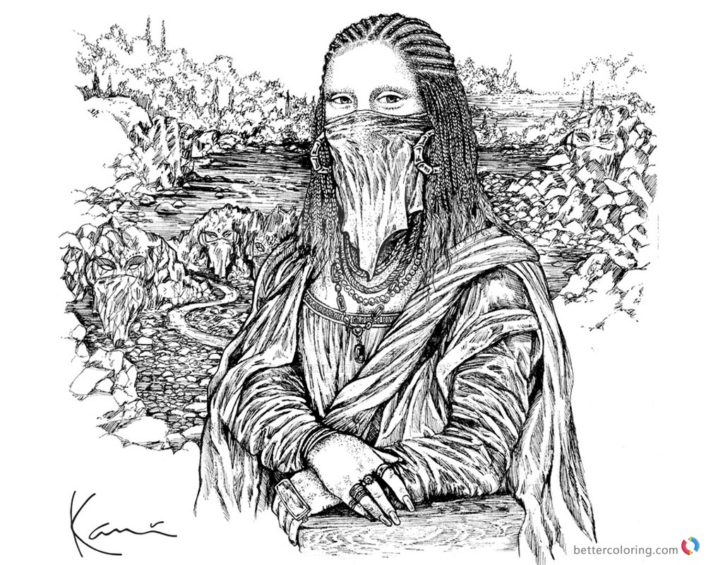 Mona Lisa Coloring Pages by karlkaniart  printable and free