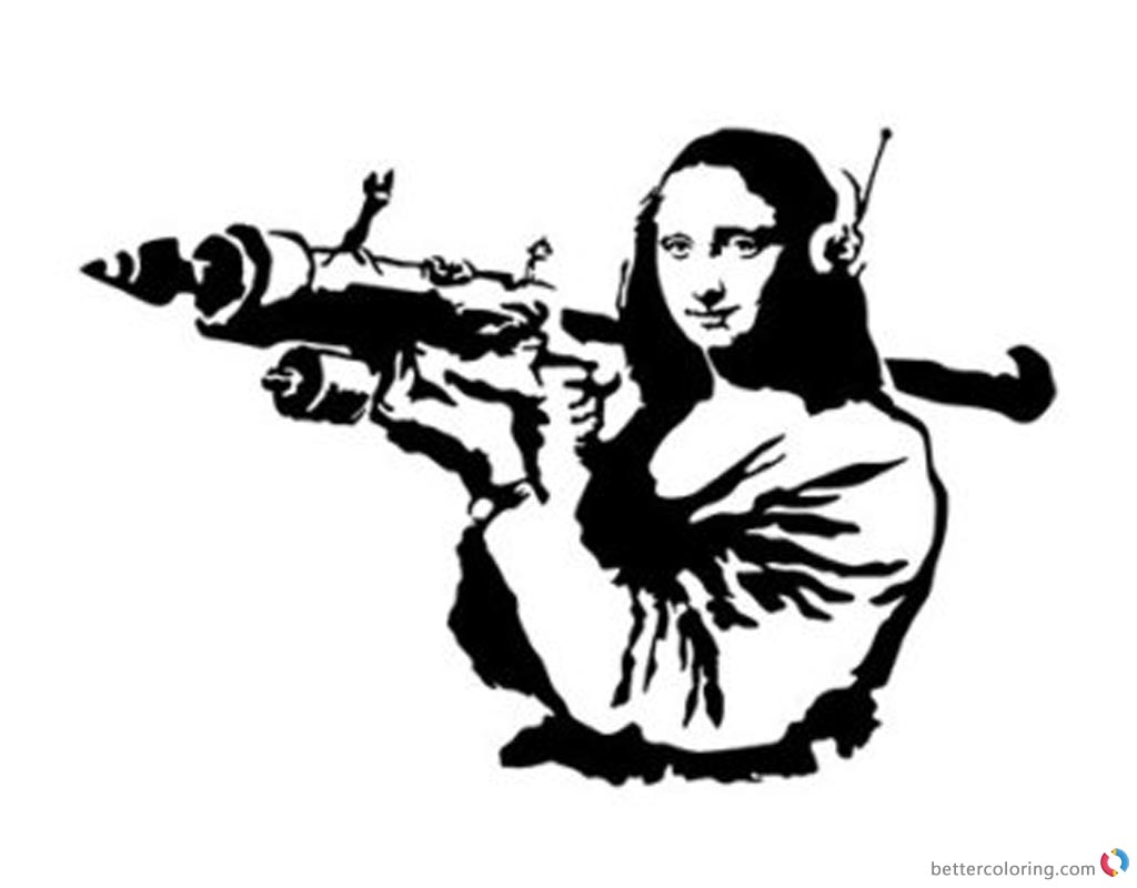 Mona Lisa Coloring Pages with Weapon printable and free