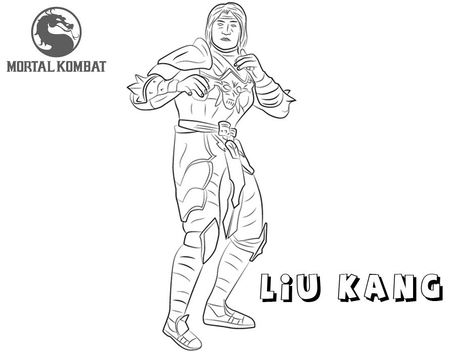Mortal Komat X coloring pages Dark Emperor Liu Kang free andprintable