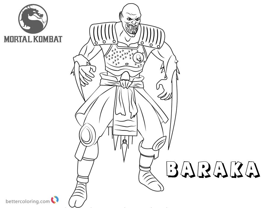 Mortal Kombat coloring pages Baraka free andprintable