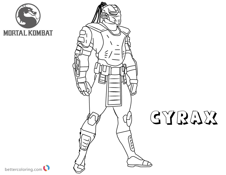 Mortal Kombat Coloring Pages Cyrax Free Printable