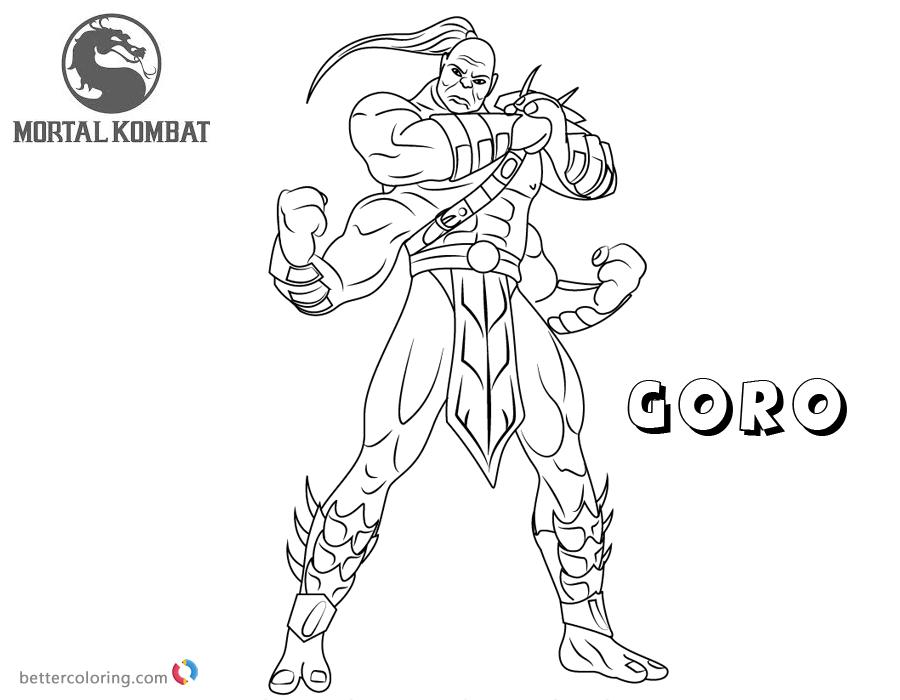 Mortal Kombat Coloring Pages Goro Free Printable