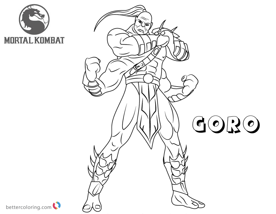 Mortal Kombat coloring pages Goro free andprintable