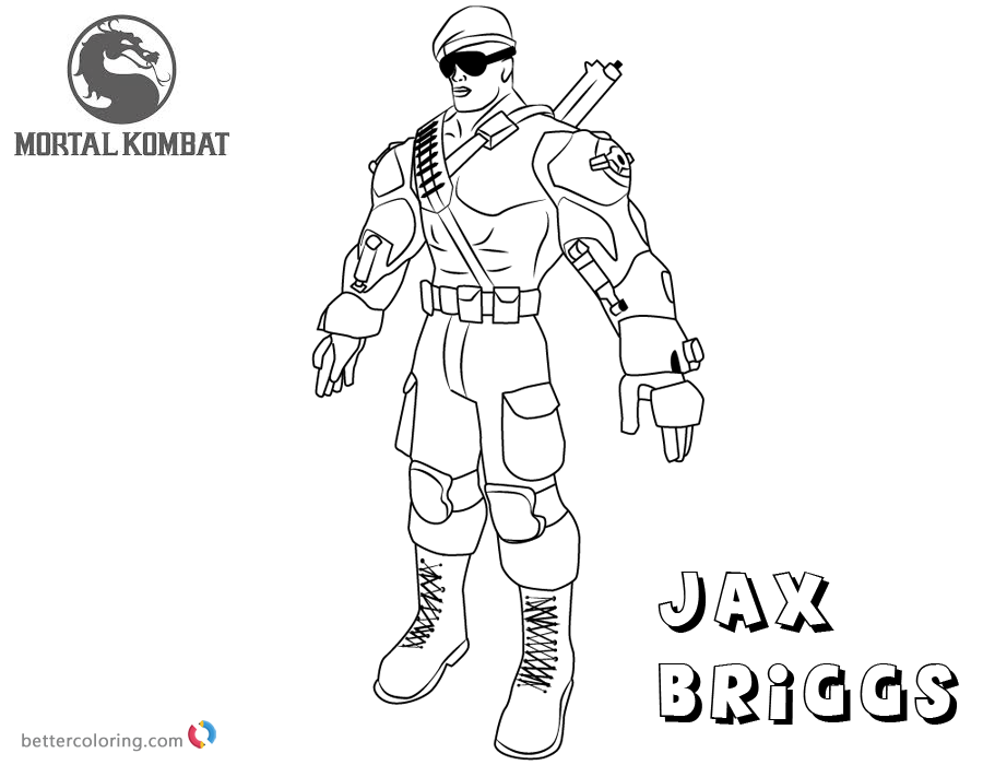 mortal kombat coloring pages jax briggs