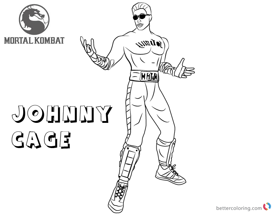 Mortal Kombat coloring pages Johnny Cage free andprintable