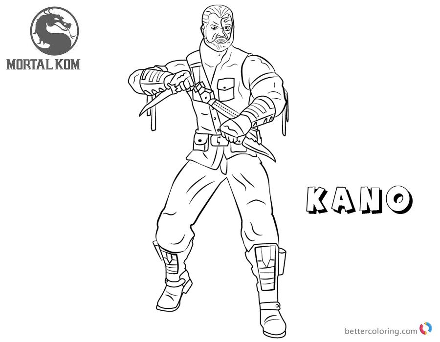 Mortal Kombat coloring pages Kano free andprintable