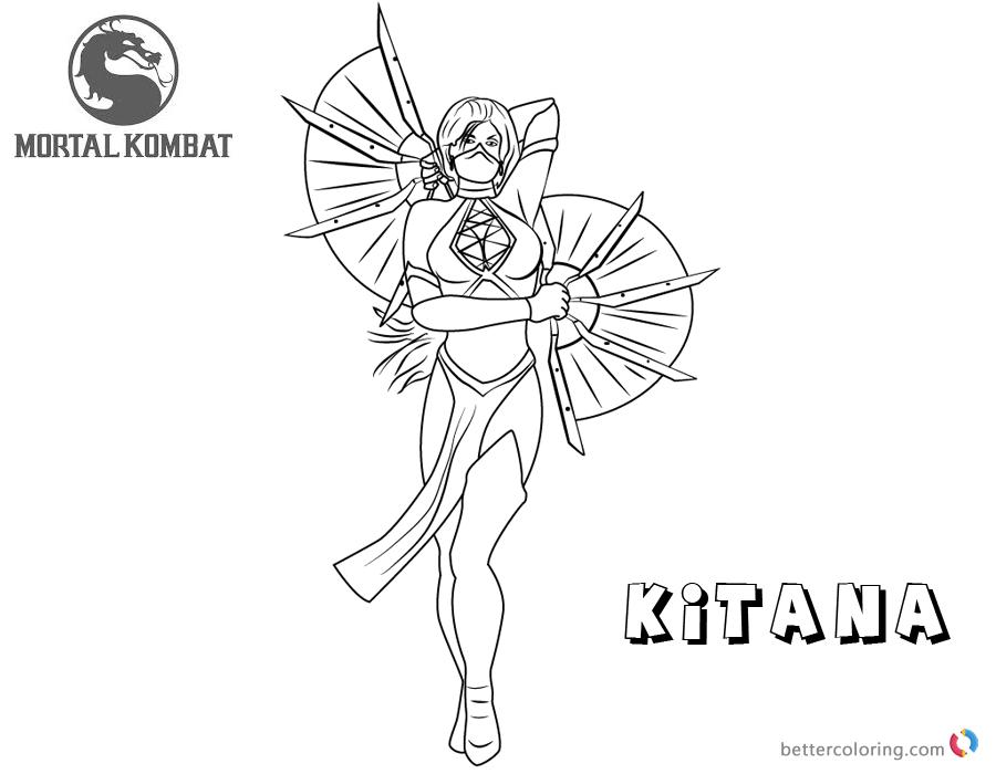 Mortal Kombat coloring pages Kitana free andprintable