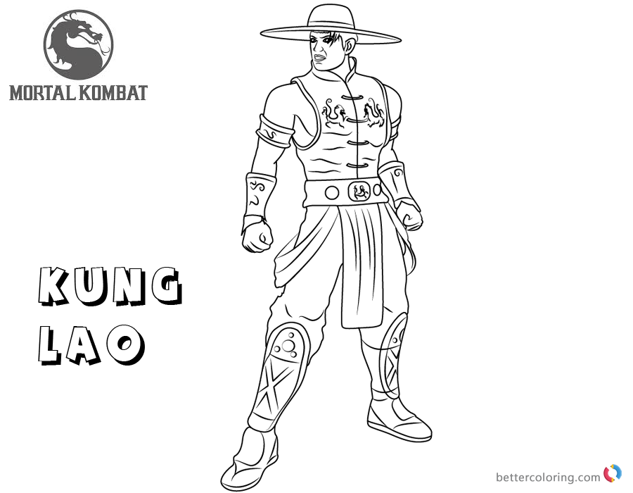 mortal kombat coloring pages kung lao free printable coloring pages