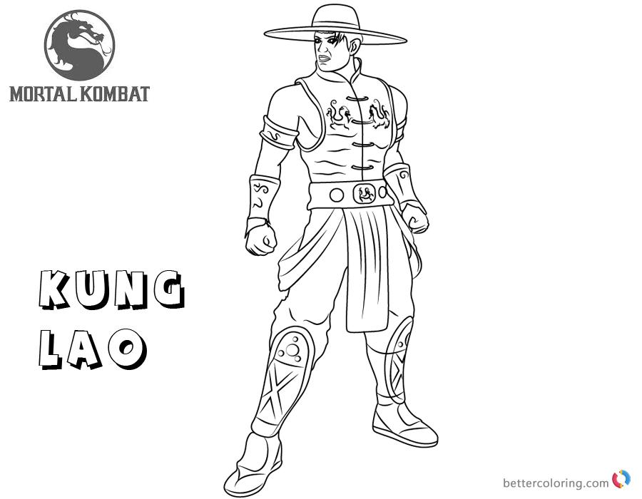 Mortal Kombat coloring pages Kung Lao free andprintable